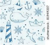 Nautical seamless doodles - stock vector