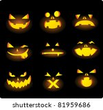 scary carved pumpkins faces | Shutterstock .eps vector #81959686