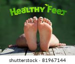 healthy feet with happy finger... | Shutterstock . vector #81967144