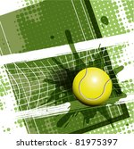 illustration, tennis ball on abstract green background - stock vector
