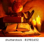 Stack Old Book And Candle....