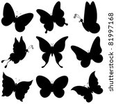Stock vector vector butterflies black silhouettes on white background 81997168