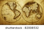 Antique Map Of The World  Circ...