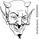 A black and white cartoon style devil face - stock vector