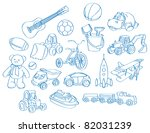 Sketch, drawing of a bunch of boy's toys. Can be used as background or separate elements. - stock vector