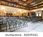 Interior of the main hall at Minatogawa Temple in Kobe, Japan. - stock photo