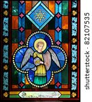angel on stained glass | Shutterstock . vector #82107535