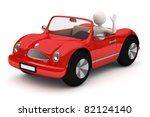 3d white man driving, going with red car, waving with raised hand - stock photo