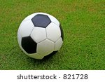 A soccer ball on grass. - stock photo