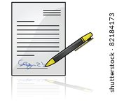Glossy vector illustration showing a document with a signature at the bottom - stock vector