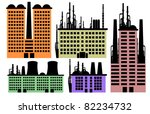 Set of various factory and stalks vector background - stock vector
