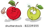 cartoon apples  red and green.