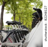 Public Bicycles for rent at a docking station - stock photo
