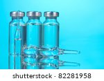 medical ampoules on blue... | Shutterstock . vector #82281958