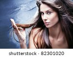 young brunette woman with... | Shutterstock . vector #82301020
