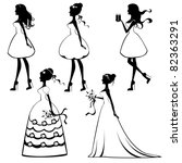 beautiful brides silhouettes set | Shutterstock .eps vector #82363291