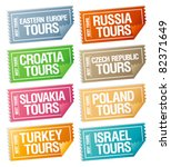 best tours stickers in form of  ...   Shutterstock .eps vector #82371649