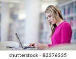 in the library   pretty female... | Shutterstock . vector #82376335