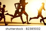 group of young people runs at... | Shutterstock . vector #82385032