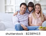a happy family with a child at... | Shutterstock . vector #82389415