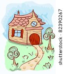 vector cartoon house and trees | Shutterstock .eps vector #82390267