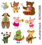 cartoon animal playing music | Shutterstock .eps vector #82401088