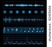 notes  buttons and sound waves. ... | Shutterstock .eps vector #82405606
