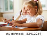 little girls drawing pictures... | Shutterstock . vector #82412269