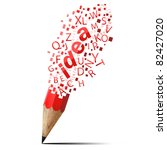 creative pencil with red idea isolate on white - stock photo