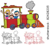 an image of children riding on... | Shutterstock . vector #82428235