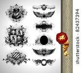 medieval heraldry shields | Shutterstock .eps vector #82437394