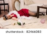 Crime scene in a retro style. Dead woman lying on the floor - stock photo