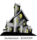 Halloween illustration of a haunted ghost house - stock vector