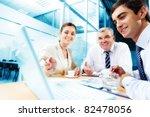 a business team of three...   Shutterstock . vector #82478056