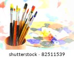 brushes with oily paint on an... | Shutterstock . vector #82511539