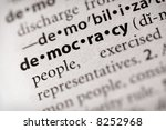 "Selective focus on the word ""democracy"". Many more word photos for you in my portfolio... - stock photo"