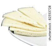 some slices of manchego cheese from Spain - stock photo