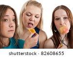 three young beautiful girl... | Shutterstock . vector #82608655