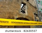 "Tape with translated text from French into English:""No admittance, National Police"". This is a crime scene in France - stock photo"