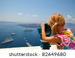 Girl Looking At Cruise Ships...