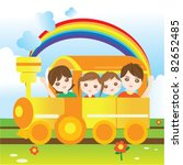 happy family riding train | Shutterstock .eps vector #82652485