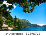 Lugano city with the view of lake Lugano - stock photo