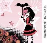 colored cartoon emo goth girl... | Shutterstock .eps vector #82713541