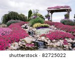 waterfall in country rock garden - stock photo