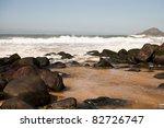 Beautiful rocky estuary on sunny day - stock photo