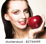 woman with red apple   Shutterstock . vector #82734499