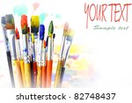 brushes with oily paint on an... | Shutterstock . vector #82748437