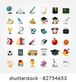 set of school icons,back to school button - stock vector