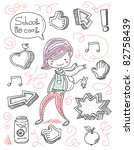 back to school kid doodles - stock vector