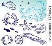 sea food set | Shutterstock .eps vector #82766626